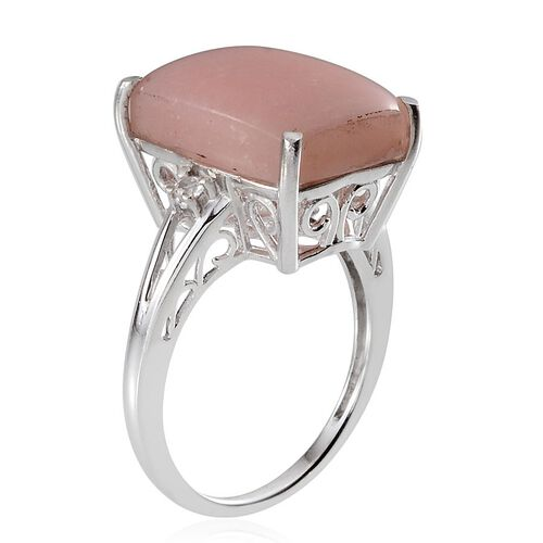 Peruvian Pink Opal (Cush 8.75 Ct), White Topaz Ring in Platinum Overlay Sterling Silver 8.830 Ct.