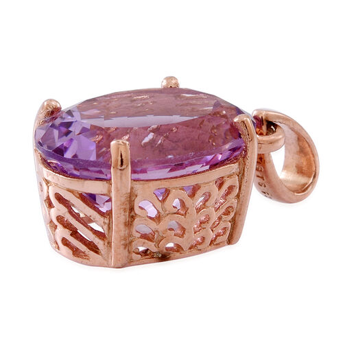 Rose De France Amethyst (Ovl) Solitaire Pendant in Rose Gold Overlay Sterling Silver 9.000 Ct.