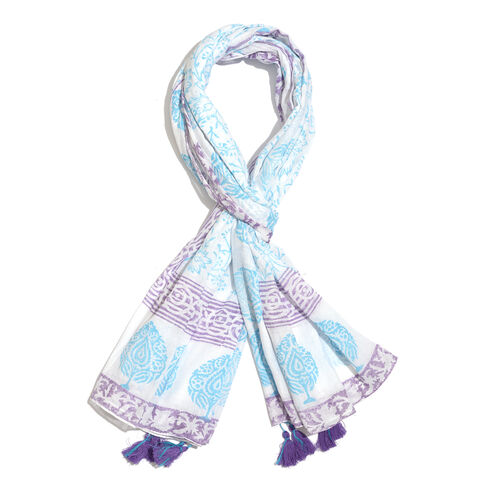 100% Cotton Turquoise, Purple and White Colour Hand Block Printed Pareo with Tassels (Size 180X100 Cm)