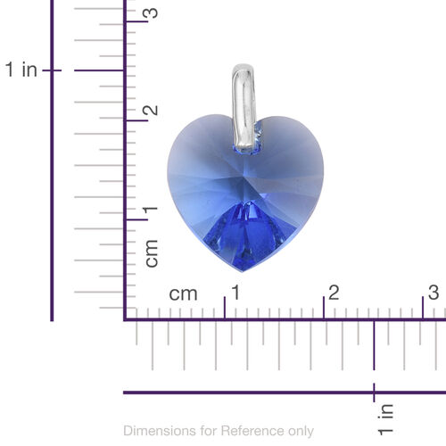 J Francis Crystal from Swarovski - Sapphire Colour Crystal (Hrt 18mm) Pendant in Sterling Silver