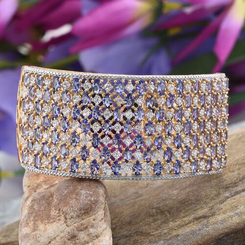 Tanzanite (Ovl), Natural Cambodian Zircon Cuff Bangle (Size 7.5) in 14K Gold Overlay Sterling Silver 29.750 Ct.Silver Wt 44.50 Gms