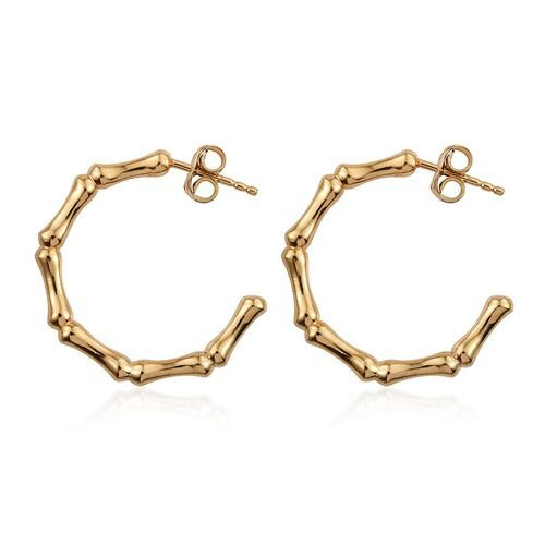 Yellow Gold Overlay Sterling Silver J Hoop Bamboo Earrings (with Push Back), Silver wt 5.79 Gms.