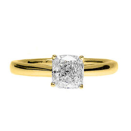ILIANA 18K Yellow Gold GIA Certified Diamond (Cush) (SI/H) Solitaire Ring 1.000 Ct. SIZE O