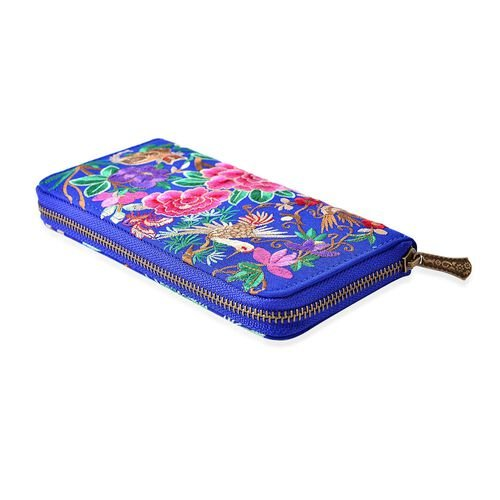 Shanghai Collection Blue Colour Peacock and Flower Embroidery Wallet (Size 19x10x2 Cm)
