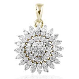 9K White Gold 1 Carat Diamond Cluster Pendant