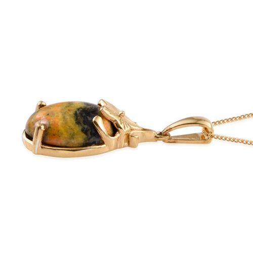 Bumble Bee Jasper (Ovl) Solitaire Pendant With Chain in 14K Gold Overlay Sterling Silver 10.000 Ct.