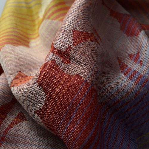 100% Modal Yellow, Orange and Multi Colour Jacquard Pattern Scarf (Size 180x70 Cm)
