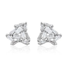 Diamond (Bgt) Stud Earrings (with Push Back) in Platinum Overlay Sterling Silver 0.25 Ct.