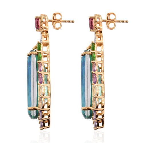Peacock Quartz, Rhodolite Garnet, Sky Blue Topaz, Russian Diopside and Multi Gemstone Earrings (with Push Back) in Platinum and Yellow Gold Overlay Sterling Silver 33.500 Ct.