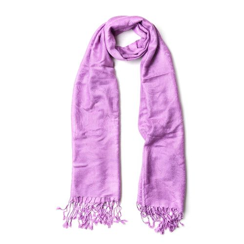 Light Purple Colour Knitted Bandana Pattern Scarf with Tassels (Size 170X70 Cm)