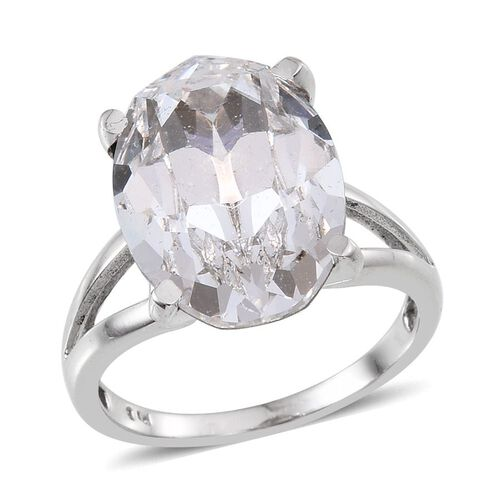Crystal from Swarovski - White Crystal (Ovl) Ring in ION Plated Platinum Bond 10.500 Ct.