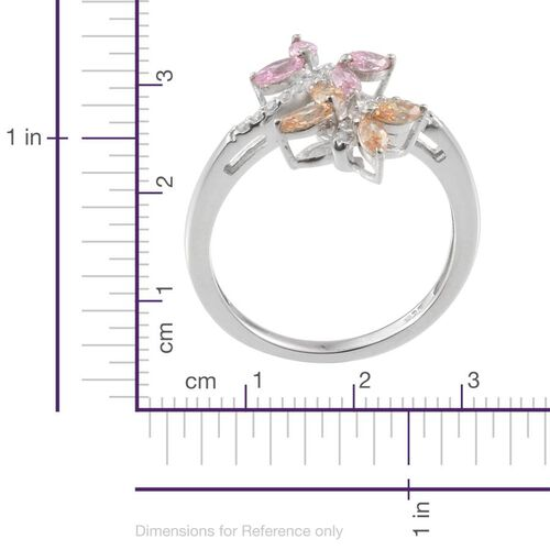 J Francis - Platinum Overlay Sterling Silver (Mrq) Crossover Ring Made With Pink, Yellow and White SWAROVSKI ZIRCONIA 0.784 Ct.