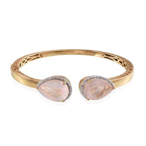 Rose Quartz (Pear), Diamond Bangle (Size 7.5) in ION Plated 18K Yellow Gold Bond 19.030 Ct.