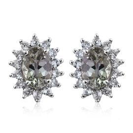 9K White Gold 1 Carat AA Natural Green Tanzanite Halo Stud Earrings (with Push Back) with Natural Cambodian Zircon
