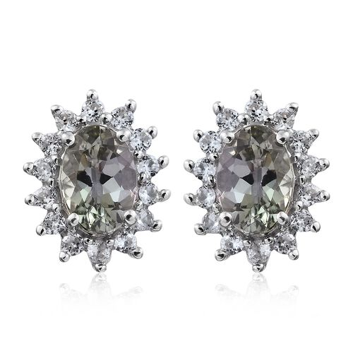 9K White Gold AA Green Tanzanite (Ovl), Natural Cambodian Zircon Stud Earrings (with Push Back) 1.000 Ct.