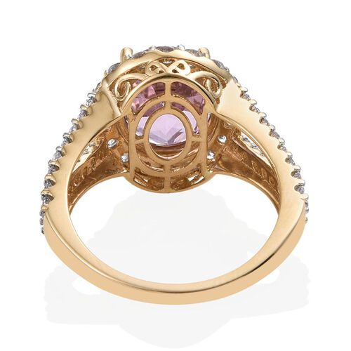 ILIANA 18K Yellow Gold AAAA Brazilian Kunzite (Ovl 5.50 Ct), Diamond (SI/G-H) Ring 6.750 Ct.