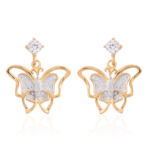 ELANZA AAA Simulated White Diamond (Rnd) Butterfly Earrings (with Push Back) in 14K Gold Overlay Sterling Silver