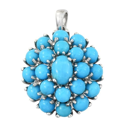 Arizona Sleeping Beauty Turquoise (Rnd) Flower Pendant in Platinum Overlay Sterling Silver 5.000 Ct.