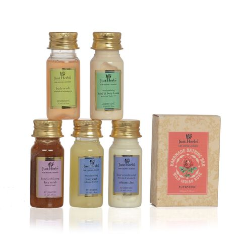 (Option 3) - Just Herbs Honey Exfloiating Face Scrub (35 ml), Body Wash (35 ml), Hand and Body Lotion (35 ml), Hair Conditioner (35 ml), Hair Wash, Soap (100 Gm)