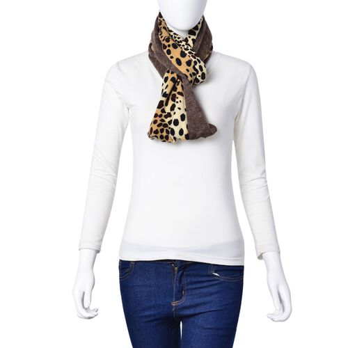 Chocolate and Light Yellow Colour Leopard Pattern Infinity Scarf (Size 74x26 Cm)
