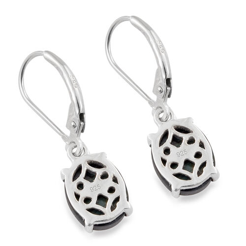 Natural Spectrolite (Ovl) Lever Back Earrings in Platinum Overlay Sterling Silver 3.500 Ct.