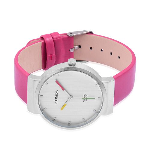 STRADA Japanese Movement Water Resistant Watch in Silver Tone with Stainless Steel Back and Fuchsia Colour Strap