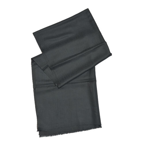 Limited Available - 100% Cashmere Wool Black Colour Shawl with Fringes (Size 200x70 Cm)