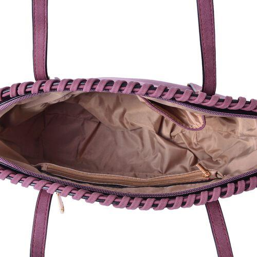 Purple Colour Tote Bag with External Zipper Pocket (Size 37x28x27x11 Cm)