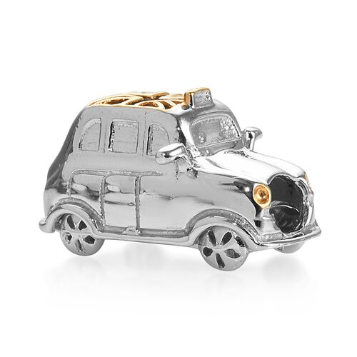 LondonTaxi Yellow Gold and Platinum Overlay Sterling Silver Charm, Silver wt 6.45 Gms.