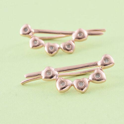 Diamond Heart Climber Earrings in Rose Gold Overlay Sterling Silver