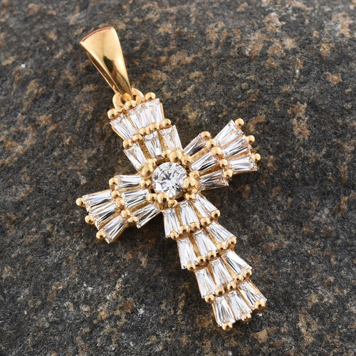 J Francis - 14K Gold Overlay Sterling Silver (Rnd and Bgt) Cross Pendant Made with SWAROVSKI ZIRCONIA