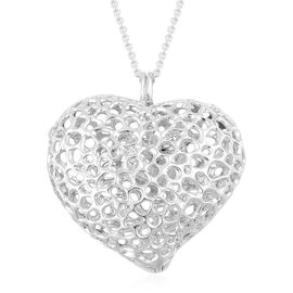 RACHEL GALLEY Rhodium Plated Sterling Silver Amore Heart Pebble Lattice Pendant with Chain (Size 30), Silver wt 33.81 Gms.