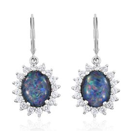 Australian Boulder Opal (Ovl), Natural Cambodian Zircon Lever Back Earrings in Platinum Overlay Sterling Silver 5.000 Ct.