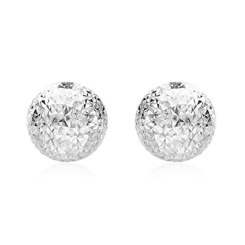 JCK Vegas Collection 9K White Gold Diamond Cut Half Ball Stud Earrings (with Push Back)