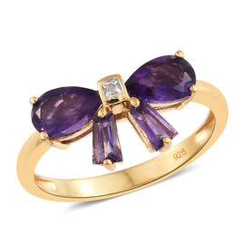 Amethyst (Pear and Bgt), Diamond Bow Ring in 14K Gold Overlay Sterling Silver 2.000 Ct.