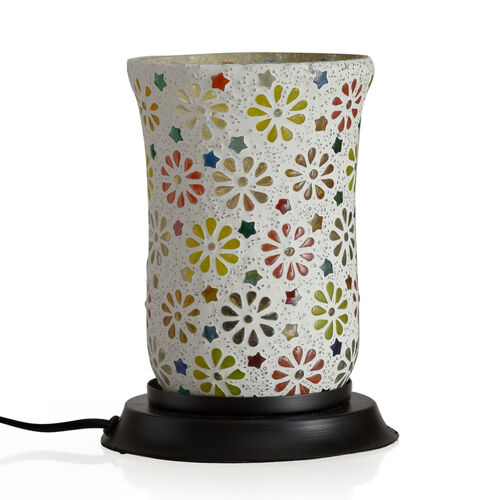 (Option 2)  Hand Made Floral Pattern Glass Mosaic Table Lamp