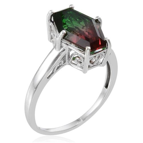 Tourmaline Colour Quartz Ring in Platinum Overlay Sterling Silver 5.000 Ct.