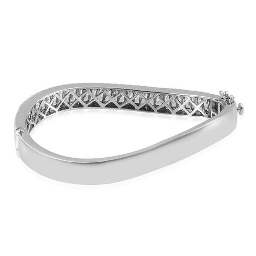 J Francis - Platinum Overlay Sterling Silver (Bgt) Bangle (Size 7.5) Made with SWAROVSKI ZIRCONIA