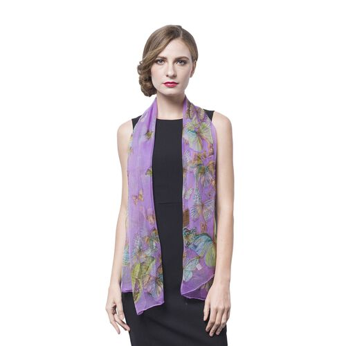 40% Mulberry Silk Green, Purple and Multi Colour Butterfly Pattern Scarf (Size 160X50 Cm)