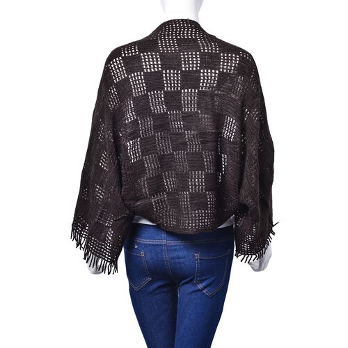 Chocolate Colour Check Pattern Poncho (Size 120x25 Cm)