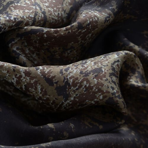 100% Mulberry Silk Abstract Pattern Dark Brown and Multi Colour Scarf (Size 175x100 Cm)