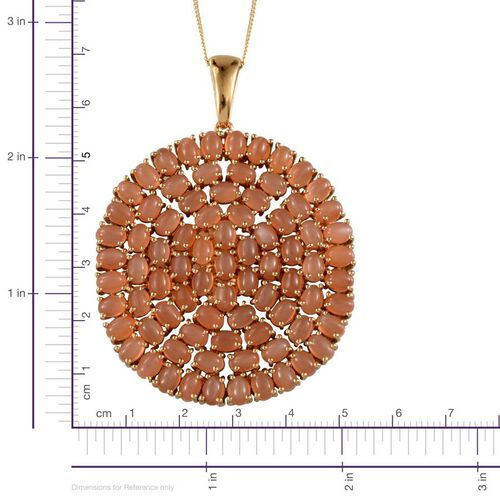 Mitiyagoda Peach Moonstone (Ovl) Cluster Pendant With Chain in 14K Gold Overlay Sterling Silver 27.250 Ct.