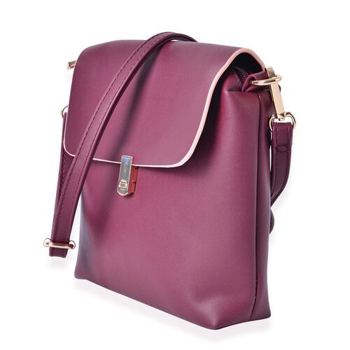 Burgundy Vintage Style Crossbody Bag with Adjustable and Removable Shoulder Strap (Size 18x18x5 Cm)