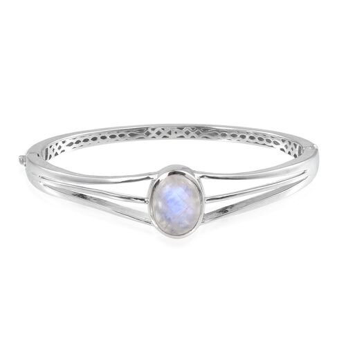 Natural Rainbow Moonstone (Ovl) Bangle (Size 7.5) in ION Plated Platinum Bond 10.000 Ct.