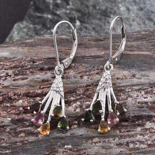 Rainbow Tourmaline (Pear) Lever Back Earrings in Platinum Overlay Sterling Silver 1.400 Ct.