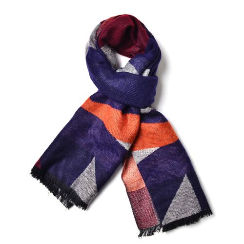 Dark Blue, Grey, Red and Orange Colour Block Pattern Scarf with Fringes (Size 190x65 Cm)