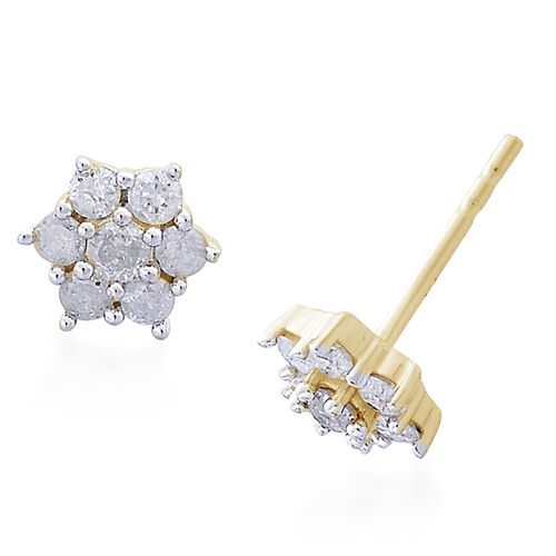 9K Yellow Gold 0.50 Carat Diamond Floral Stud Earrings (with Push Back) SGL Certified (I3/G-H)