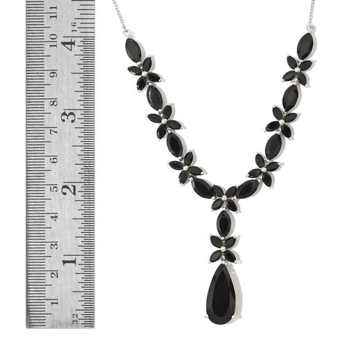 Boi Ploi Black Spinel (Pear) Necklace (Size 18) in Platinum Overlay Sterling Silver 35.250 Ct.