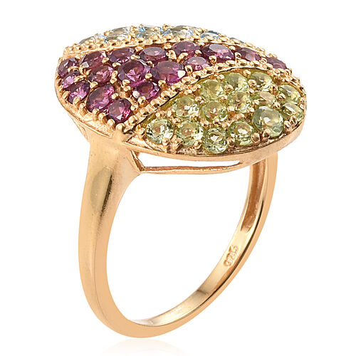 Rhodolite Garnet (Rnd), Signity Blue Topaz and Hebei Peridot Ring in 14K Gold Overlay Sterling Silver 2.500 Ct.