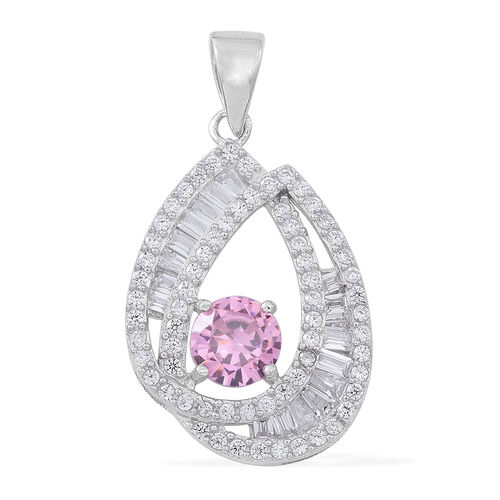 Signature Collection-ELANZA AAA Simulated Pink Sapphire (Rnd), Simulated Diamond Pendant in Rhodium Plated Sterling Silver, Silver wt 3.19 Gms.